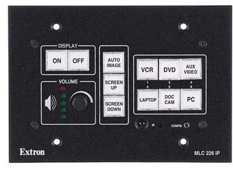 pushbutton panel showing the media system power , audio and source controls