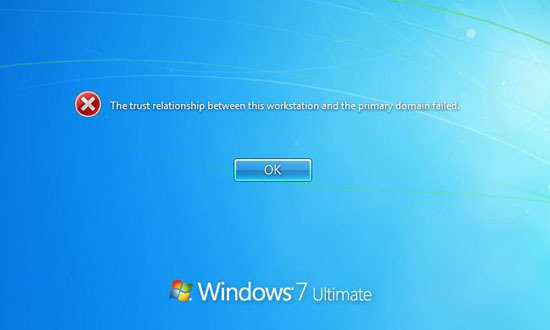 screenshot of the Microsoft Windows Trust Relationship Failed error