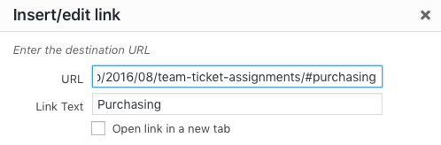 Screenshot showing adding a bookmark URL in the WordPress Link Options box